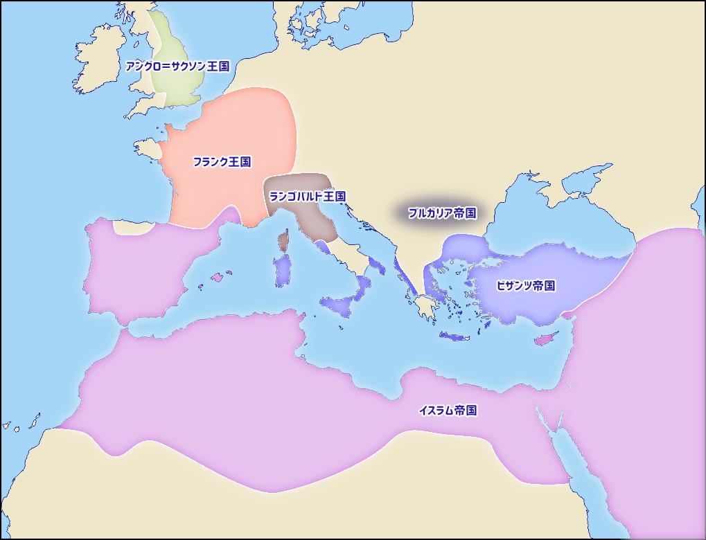 8世紀半ばのヨーロッパの勢力図