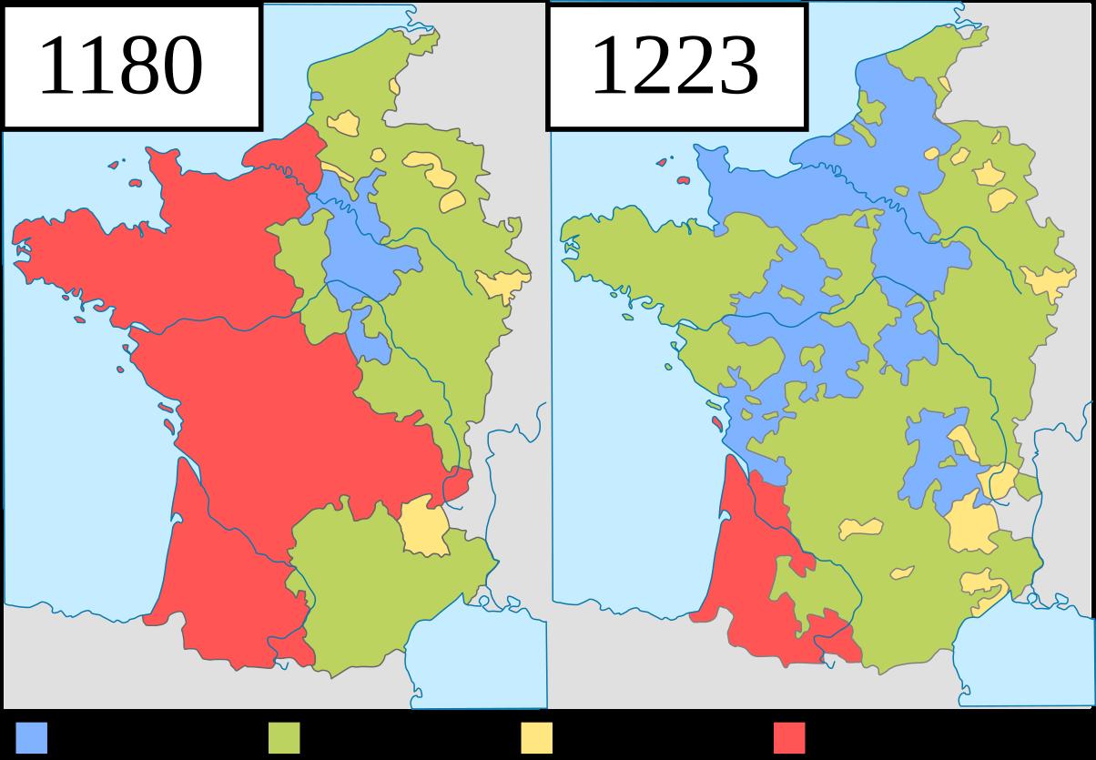 フランス王国の勢力図(1223年)